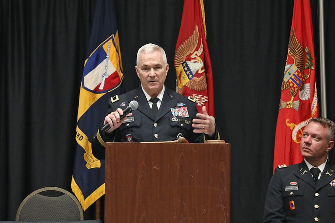 """Brig. Gen. Haldane Lamberton, adjutant general for Kentucky concluded the conference with a """"state of the Guard,"""" highlighting the unique and challenging year Guardsmen have faced during for the 90th National Guard Association of Kentucky (NGAKY) Conference, Oct. 2, 2021. (U.S. Army National Guard photo by Sgt. 1st Class Scott Raymond)"""