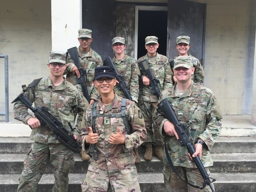 Capt. Timothy Wang (then a  1st Lieutenant) poses with a group of officer cadets November of 2019. (Courtesy photo)