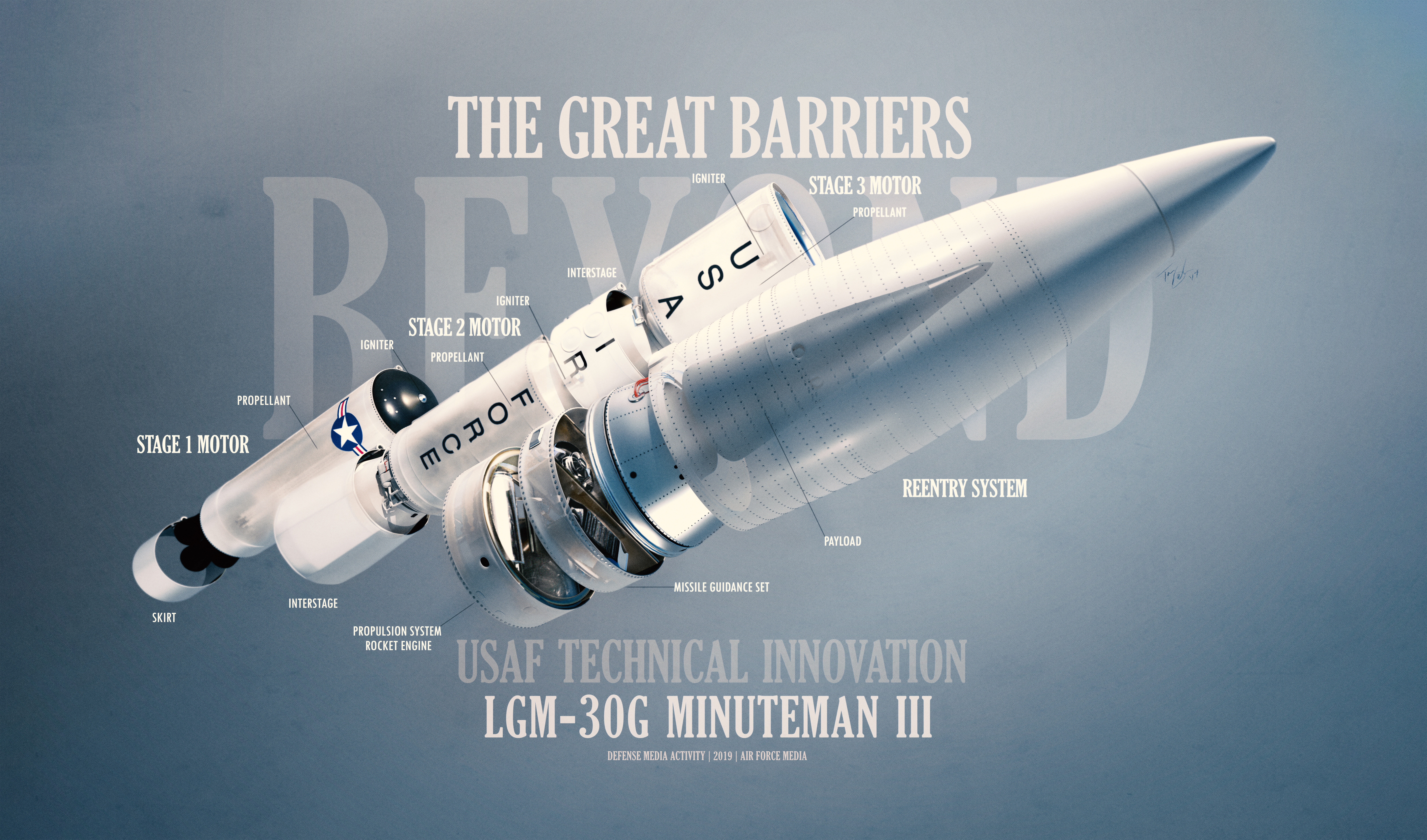 Illustration showing the components of the LGM-30G Minuteman III ICBM.