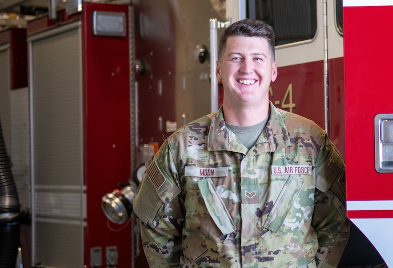 U.S. Air Force Senior Airman Jared Moon, firefighter with the 419th Civil Engineer Squadron, poses for a photo at Hill Air Force Base, Utah on Oct. 3, 2021.