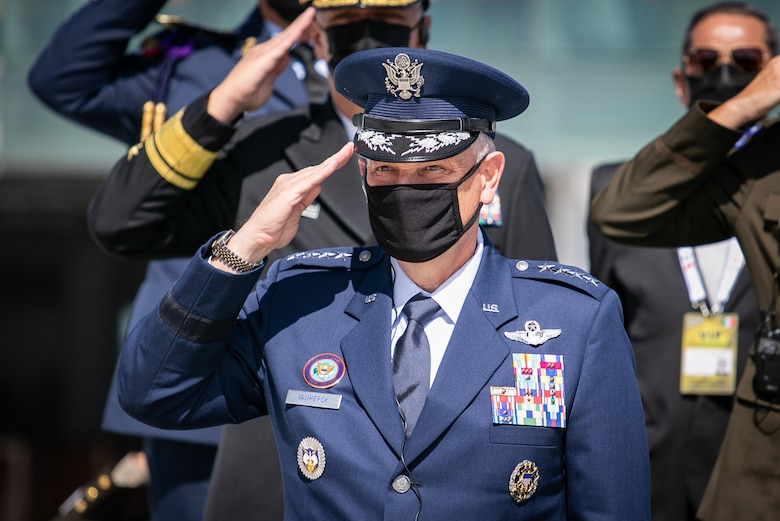 U.S. Air Force Gen. Glen D. Vanherck, commander of North American Aerospace Defense Command and U.S. Northern Command, attends an inauguration ceremony during the Feria Aeroespacial México (FAMEX), or the Mexico Aerospace Fair, at Base Aérea No.1 de Santa Lucía, Mexico, Sep. 22, 2021. U.S. participation in the air show is meant as a sign of support for Mexico, a close partner and neighbor.