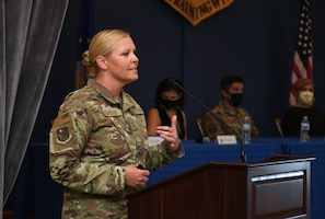 U.S. Air Force Sarah Esparza, 81st Training Wing vice commander, delivers remarks during the Hispanic Leaders Panel inside the Bay Breeze Event Center at Keesler Air Force Base, Mississippi, Oct. 5, 2021. During National Hispanic Heritage Month, which is celebrated from Sept. 15 to Oct. 15, Keesler will also host a 5K run. (U.S. Air Force photo by Kemberly Groue)