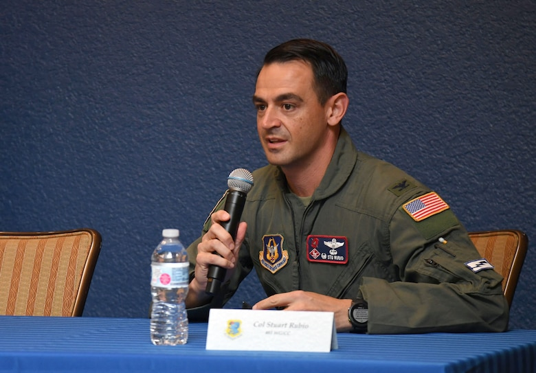 U.S. Air Force Col. Stuart Rubio, 403rd Wing commander, delivers remarks during the Hispanic Leaders Panel inside the Bay Breeze Event Center at Keesler Air Force Base, Mississippi, Oct. 5, 2021. During National Hispanic Heritage Month, which is celebrated from Sept. 15 to Oct. 15, Keesler will also host a 5K run. (U.S. Air Force photo by Kemberly Groue)