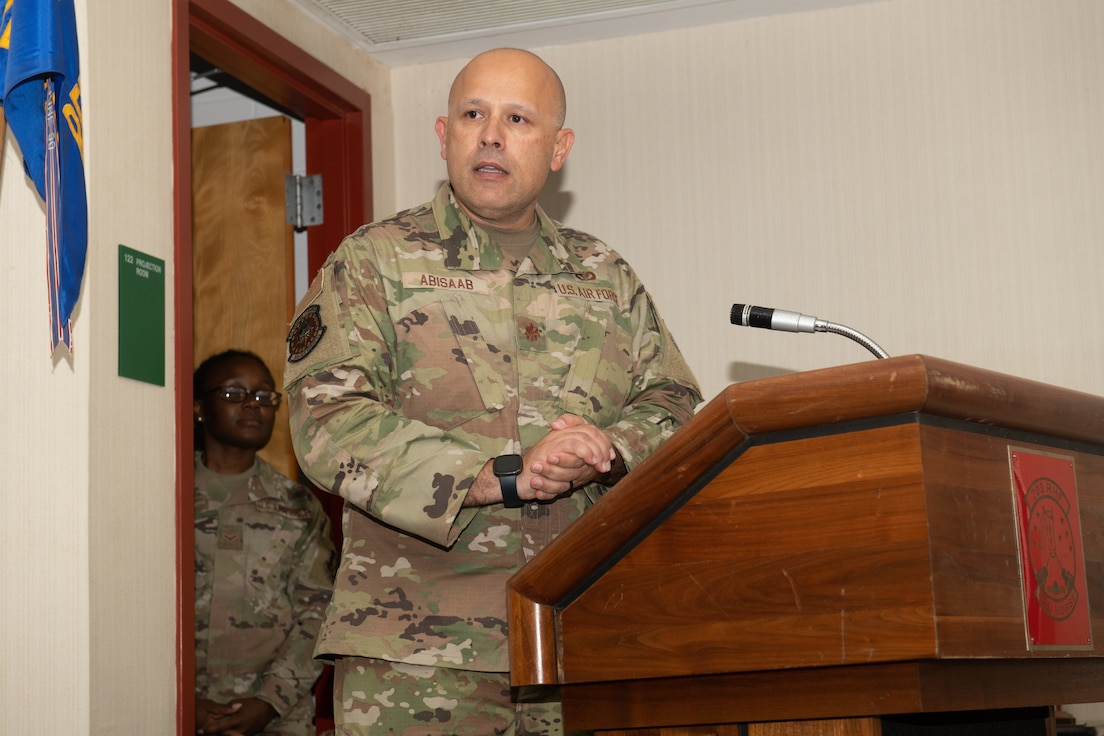 Maj. Ayad M. Abisaab addresses Airmen from the 203rd Rapid Engineer Deployable Heavy Operational Repair Squadron Engineers (RED HORSE) after assuming command during a change of command ceremony Oct. 2, 2021, at State Military Reservation in Virginia Beach, Virginia