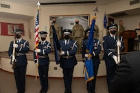 The honor guard presents the colors at the 192nd Wing's 203rd Rapid Engineer Deployable Heavy Operational Repair Squadron Engineers (RED HORSE) change of command ceremony Oct. 2, 2021, at State Military Reservation in Virginia Beach, Virginia.