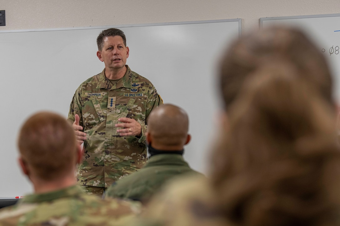 Gen. Thompson speaks to students at Edwards AFB