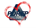 Logo with the words Product Data Reporting and Evaluation Program with a red heart around it
