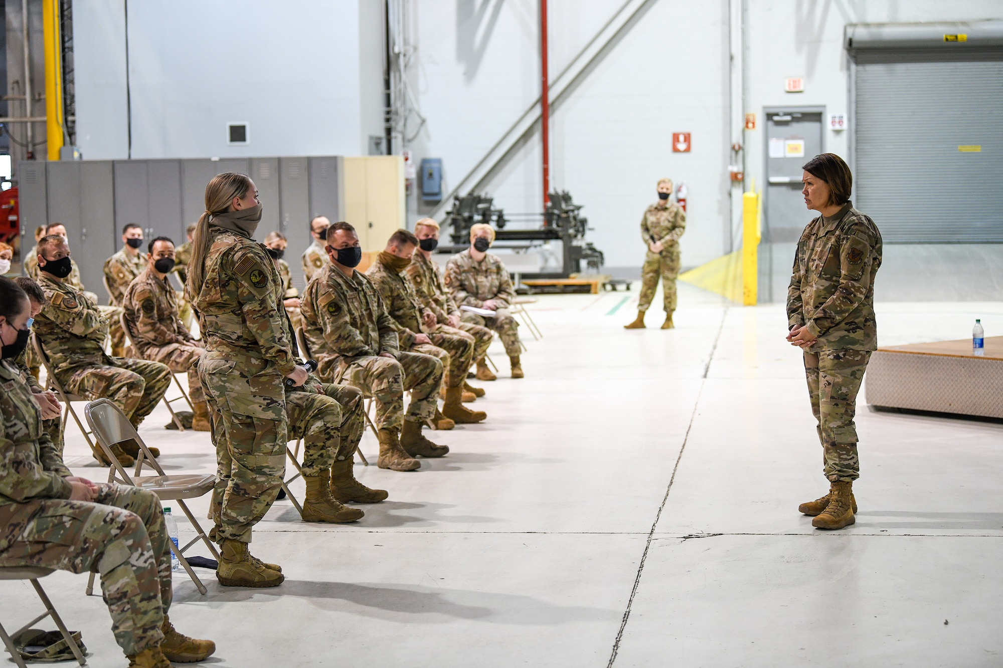 Chief Master Sgt. of the Air Force JoAnne S. Bass holds an enlisted call with 445th Airlift Wing Airmen during her visit to Wright-Patterson Air Force Base, Ohio Oct. 2, 2021.