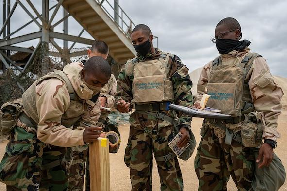 Trainees take part in CBRN Defense training.