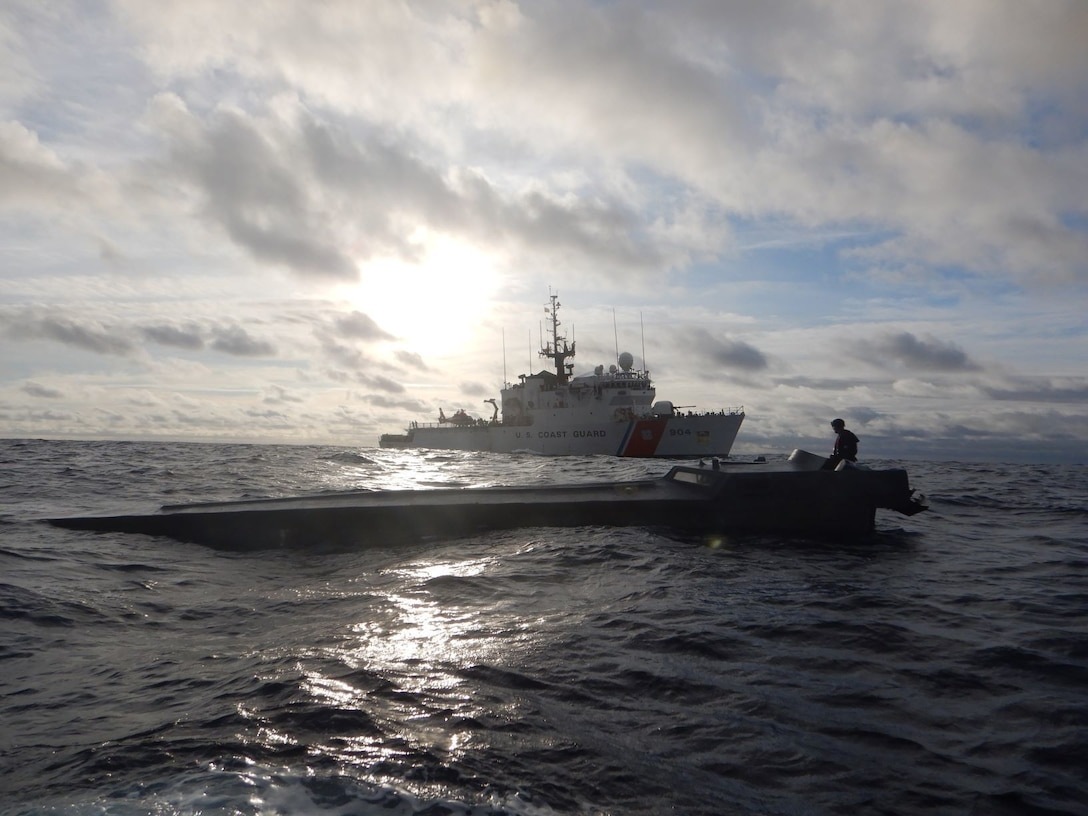 USCGC Northland (WMEC 904) interdicts a low-profile vessel in the Eastern Pacific Ocean in August 2021
