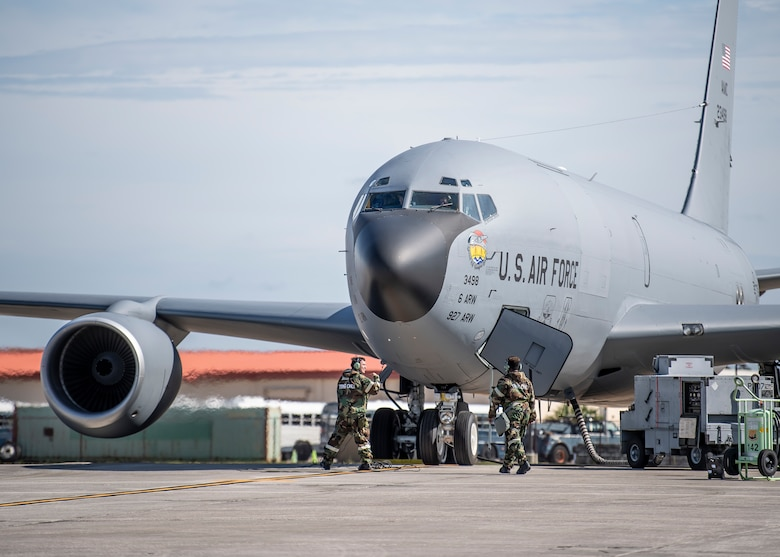 Airmen with the 6th Maintenance Group make final preparations to a KC-135 Stratotanker prior to takeoff at MacDill Air Force Base, Florida, Oct. 6, 2021.