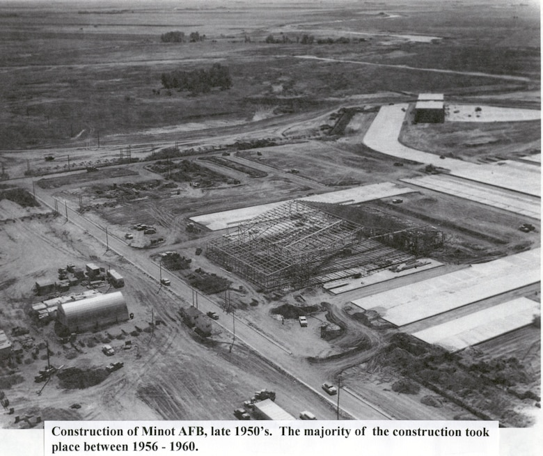 The construction of Minot AFB in the late 1950s.