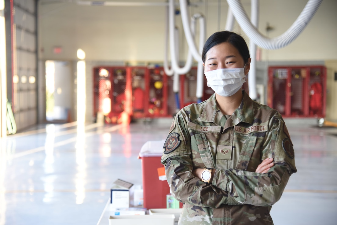 U.S. Air Force Senior Airman Angelina Lee, 17th Healthcare Operations Squadron aerospace allergy and immunization tech, poses for a photo.