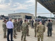Senior leaders learn about airfield activities and projects during the first Senior Leader Airfield Tour (SLAT) at Joint Base Andrews, Md., Aug. 26, 2021.