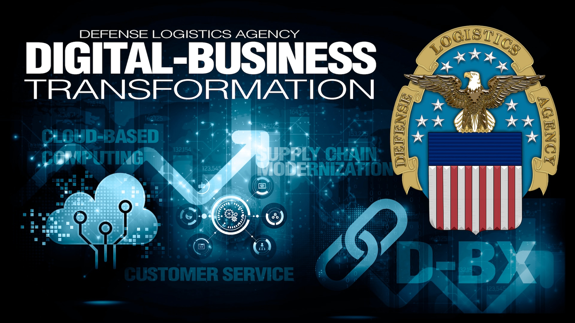 Text saying Digital-Business Transformation with the DLA emblem on a technology-related background