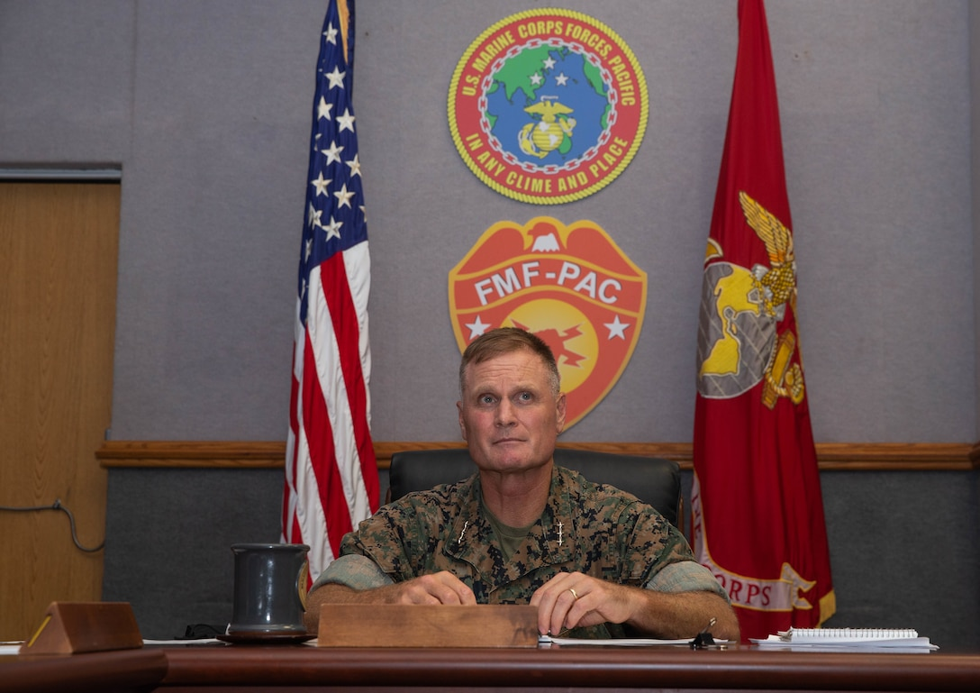 U.S. Marine Corps Lt. Gen. Steven R. Rudder, commander, U.S. Marine Corps Forces, Pacific, participates in a global video teleconference during the Pacific Amphibious Leaders Symposium 21.2 at Camp H.M. Smith, Hawaii, Oct. 6. This iteration of PALS brought senior leaders of allied and partner militaries together to discuss Marine Corps Force Design 2030, expeditionary advanced base operations, intermediate force capabilities, and ways to improve interoperability between partners within the Indo-Pacific region. A total of 20 allies and partners from Asia, Australia, Europe, South America, and North America participated in the symposium. PALS was conducted virtually for the second time to comply with COVID-19 mitigation efforts.