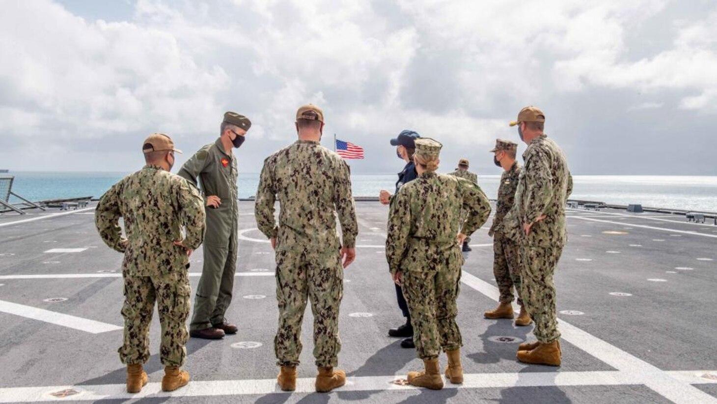 CTF 76 Sailors and Marines Tour USS Charleston