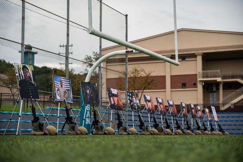 Battlefield Crosses of the 13 U.S. service members that perished in Afghanistan were on display as Airmen of Team Osan prepare for a memorial ruck march