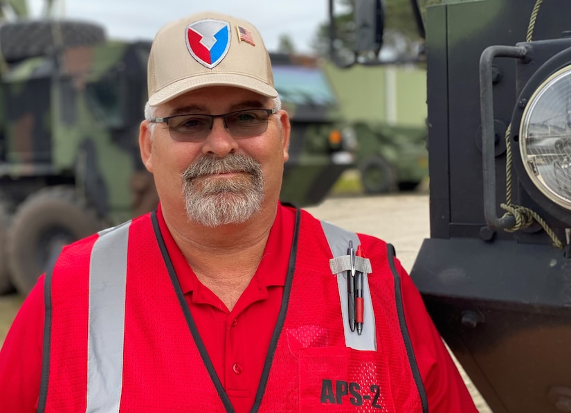 Scott Schneider is a quality assurance specialist at the Zutendaal Army Prepositioned Stock-2 worksite, Army Field Support Battalion Benelux, 405th Army Field Support Brigade. He said safety is always their first priority at the APS-2 worksite.