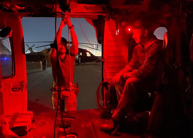 Airmen at work at night