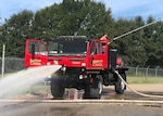 A former military truck repurposed into a firetruck by Texas' Marlin Volunteer Fire Department. The department took advantage of DOD's Firefighter Property Program that puts used military equipment into the hands of fire departments.