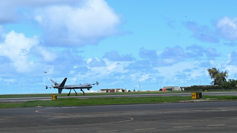 An MQ-9 Reaper takes off for the first sortie flight of Exercise Agile Combat Employment Reaper Sept. 15, 2021, on Marine Corps Base Hawaii. The purpose of this exercise is to demonstrate the MQ-9 assets and the ability to rapidly mobilize and integrate across multiple domains. (U.S. Air Force photo by Airman 1st Class Adrian Salazar)