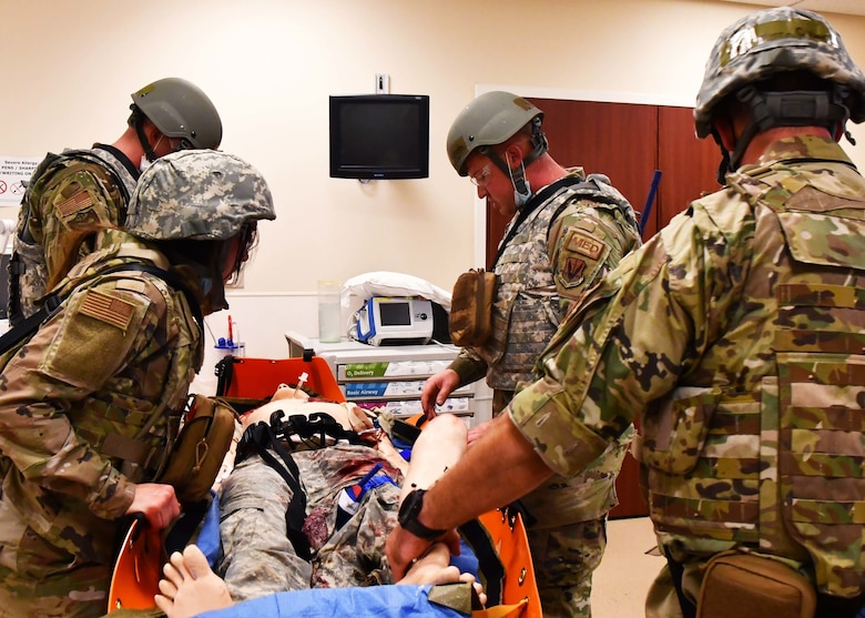 Medics and nurses from the 104th Medical Group went through a training to receive their Tactical Combat Casualty Care certificates Sept. 18-19, 2021, at the Hartford Hospital Center for Education, Simulation, and Innovation, in Hartford, Conn. The training focused on evidence-based, life-saving techniques and strategies for providing the best trauma care on the battlefield.  (U.S Air National Guard Photos by Staff Sgt. Sara Kolinski)