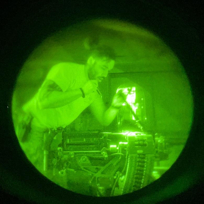 Airman works at night