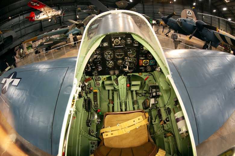 Cockpit view of the Supermarine Spitfire PR.XI at the National Museum of the U.S. Air Force World War II Gallery.