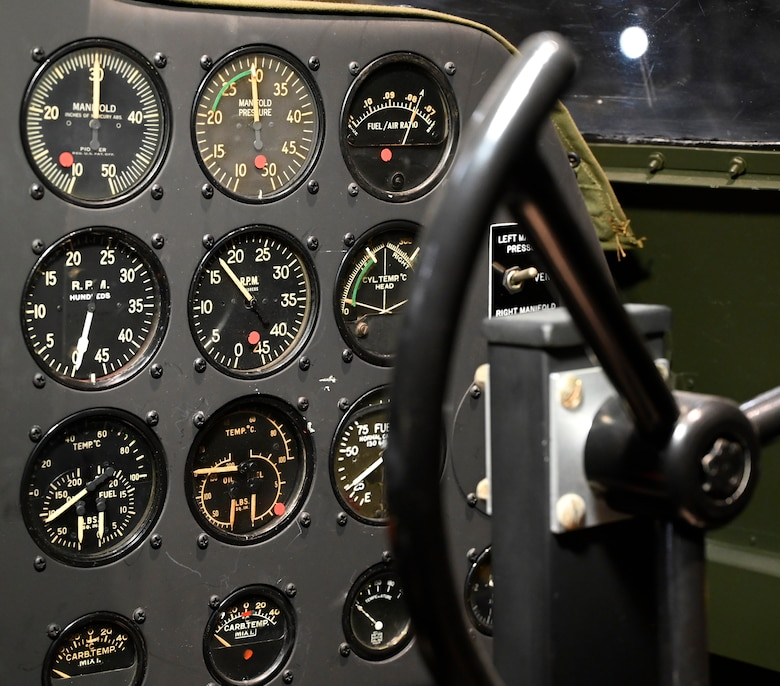 Interior view of the Curtiss AT-9 Jeep/Fledgling at the National Museum of the U.S. Air Force World War II Galllery.