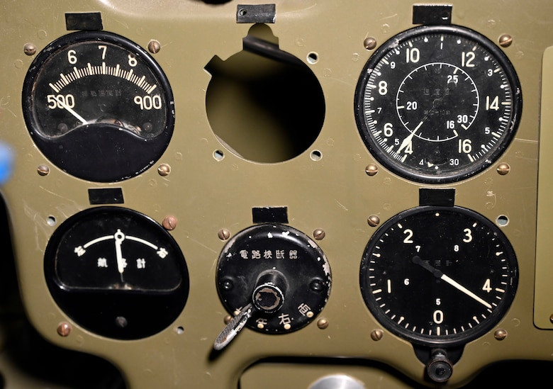 Interior view of the Mitsubishi A6M2 Zero at the National Museum of the U.S. Air Force World War II Gallery.
