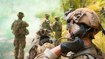 Soldiers with 7th Infantry Division test the Integrated Head Protection System and Tactical Communication and Protective System Lite hearing protection on Joint Base Lewis-McChord, in Washington. (Sgt. Youtoy Martin/Army)