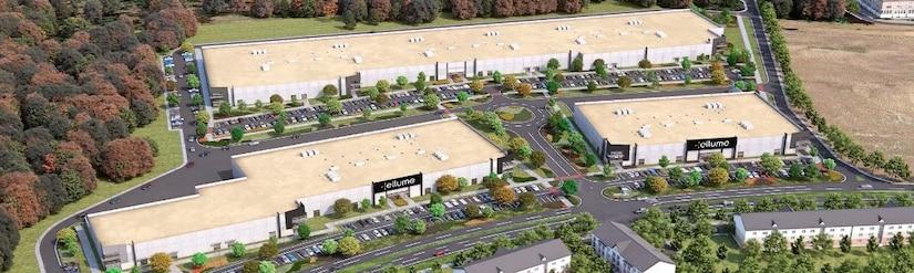 Aerial photo of Ellume's new Fredrick, MD diagnostics manufacturing facility.