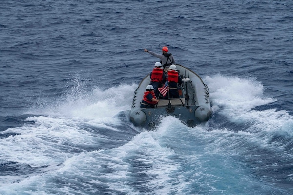 USS Jackson (LCS 6) Sailors Man RIB
