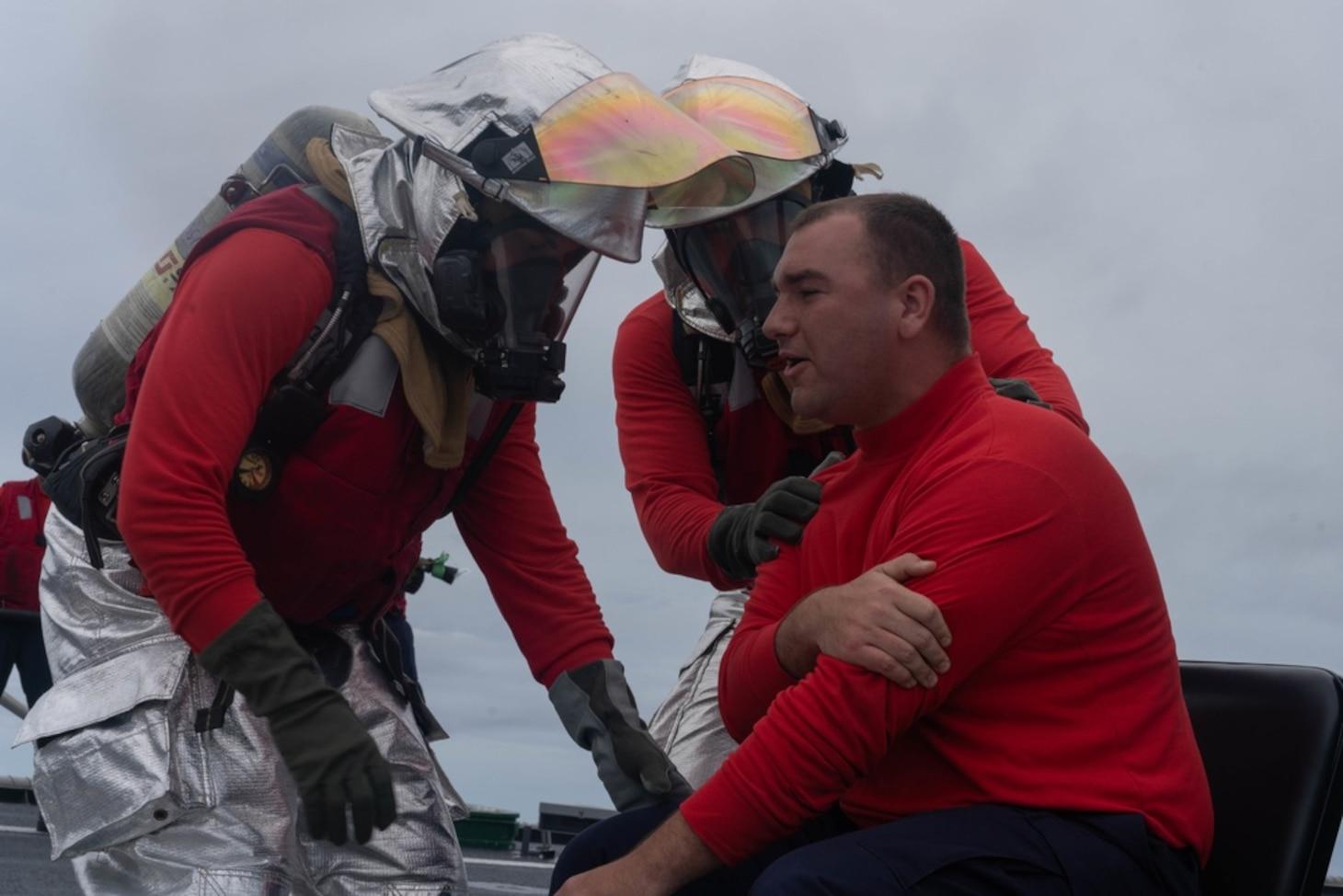 USS Jackson (LCS 6) Sailors Perform Aviation Fire Fighting Drill