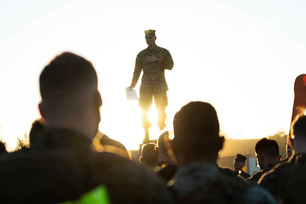 U.S. Marine Corps 1st Lt. John Merten, the executive officer of Co. C, 3rd Assault Amphibian Battalion, 1st Marine Division, briefs Marines prior to beginning the Amphibious Combat Endurance Test on Marine Corps Base Camp Pendleton, California, Jan. 15, 2021. The test conducted by the unit is an intense physical assessment that gauges a Marine's physical ability and knowledge gained from their basic school. (U.S. Marine Corps Photo by Lance Cpl. Cedar Barnes.)