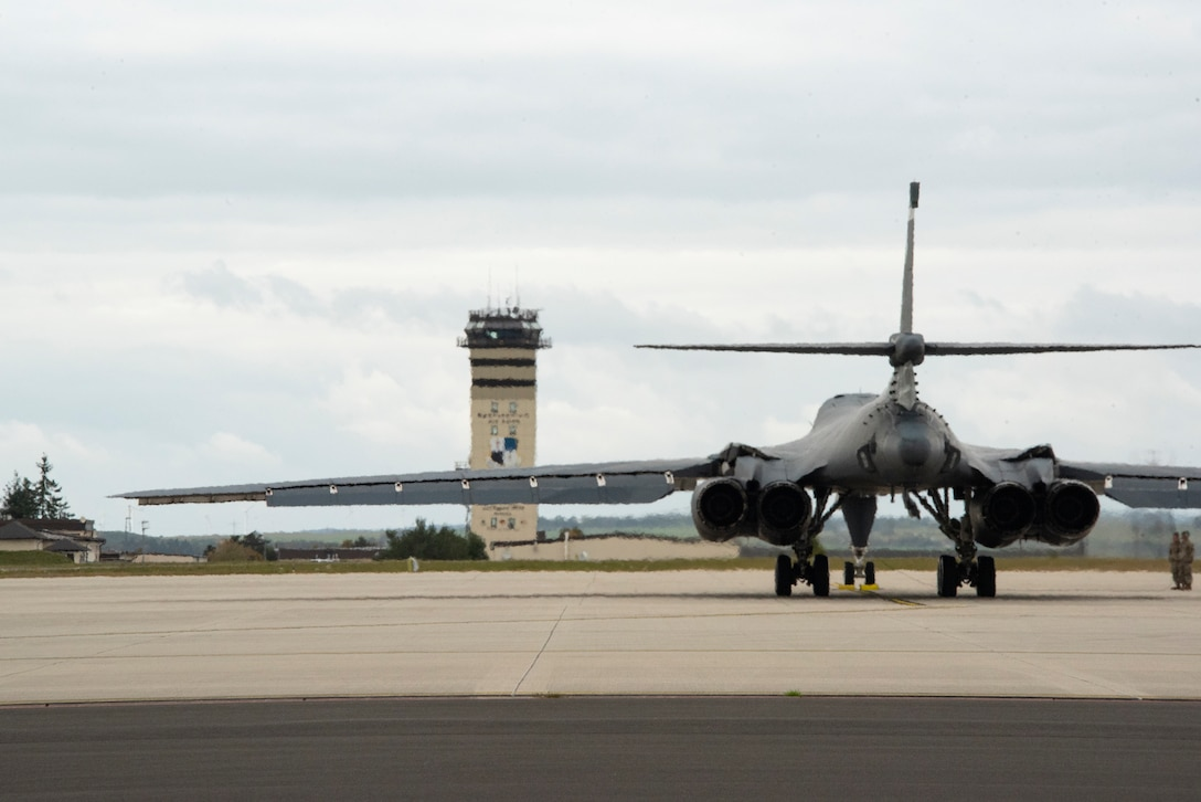 Two B-1B Lancers, from Dyess Air Force Base's 9th Expeditionary Bomb Squadron currently operating from Royal Air Force Fairford, England, conduct hot pit refueling using the innovative Versatile Integrated Partner Equipment Refueling (VIPER) kit, at Spangdahlem Air Base, Germany, Oct. 11, 2021. This was in support of European Command's Bomber task Force 22-1 mission support series using the VIPER kit, a hot pit refuel tool, supporting Agile Combat Employment operations. (U.S. Air Force photo by Staff Sgt. Chance Nardone)