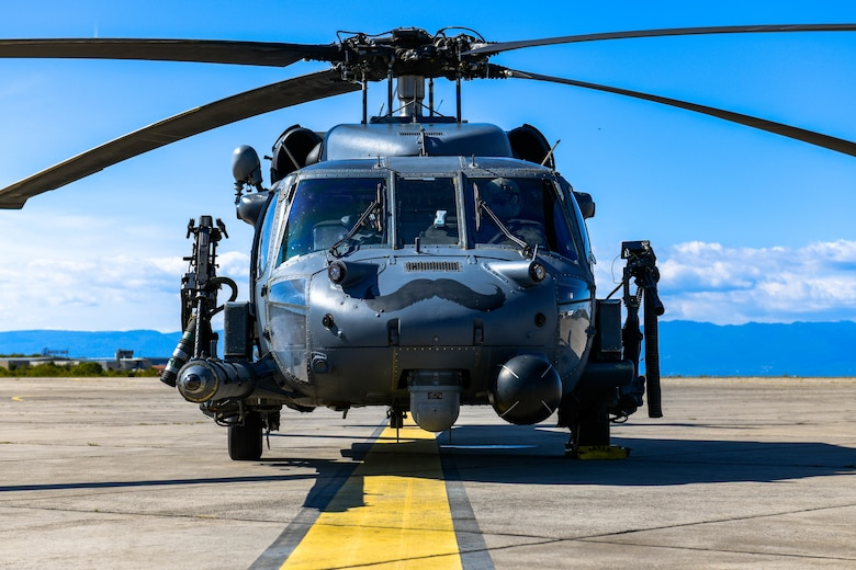 HH-60G Pave Hawk A6212, assigned to the 56th Rescue Squadron, sits on the runway after refueling at an airport in Croatia during its final flight before retirement, Sept. 23, 2021. A6212 is scheduled to be stripped of required components then mounted in front of the 56th Operations Rescue Squadron, building 7300. (U.S. Air Force photo by Senior Airman Brooke Moeder)