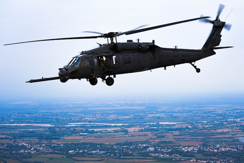 U.S. Air Force HH-60G Pave Hawk A6212 takes its final flight Sept. 23, 2021. A6212 has saved and assisted more than 958 lives and has flown 9,362.4 hours and has retired after 30 years of service. (U.S. Air Force photo by Senior Airman Brooke Moeder)