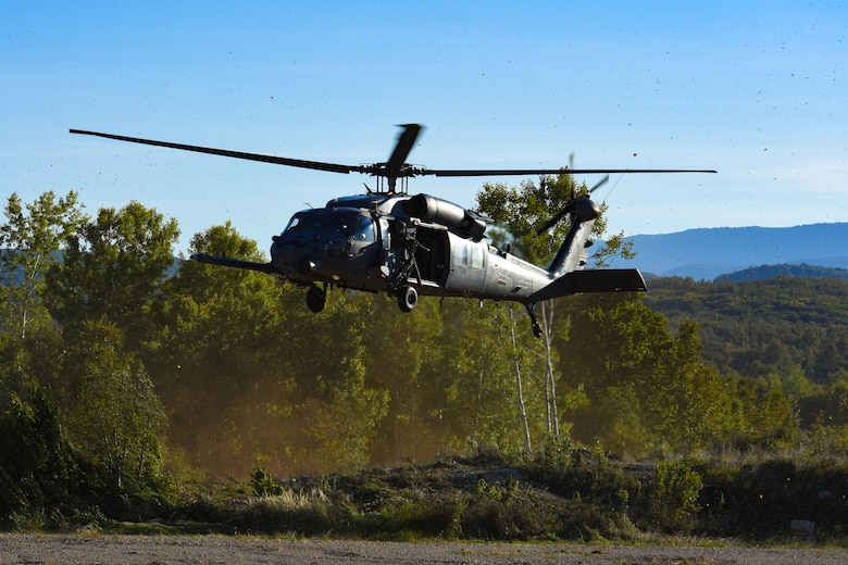 U.S. Air Force HH-60G Pave Hawk A6212 lands in Croatia during its final sortie Sept. 23, 2021. A6212 was stationed at Naval Air Station Keflavik from 1992-2006, Royal Air Force Lakenheath from 2006-2018 and Aviano Air Base from 2018 to present. (U.S. Air Force photo by Senior Airman Brooke Moeder)
