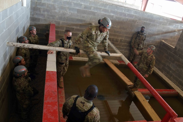 Officer Training School uses its Leadership Reaction Course (pictured) to help develop teamwork, leadership, communication skills and critical thinking in cadets destined to become commissioned officers.