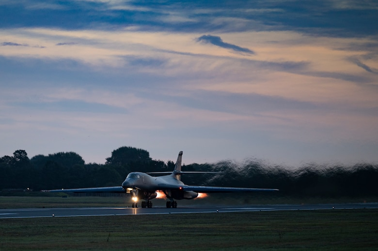 A B-1B Lancer assigned to the 9th Expeditionary Bomb Squadron takes off at RAF Fairford, United Kingdom, to conduct a Bomber Task Force Europe mission over the Baltic Sea region, Oct. 11, 2021. The mission focused on enhancing readiness and interoperability with Allied Joint Terminal Attack Controllers from Lithuania. (U.S. Air Force photo by Senior Airman Colin Hollowell)