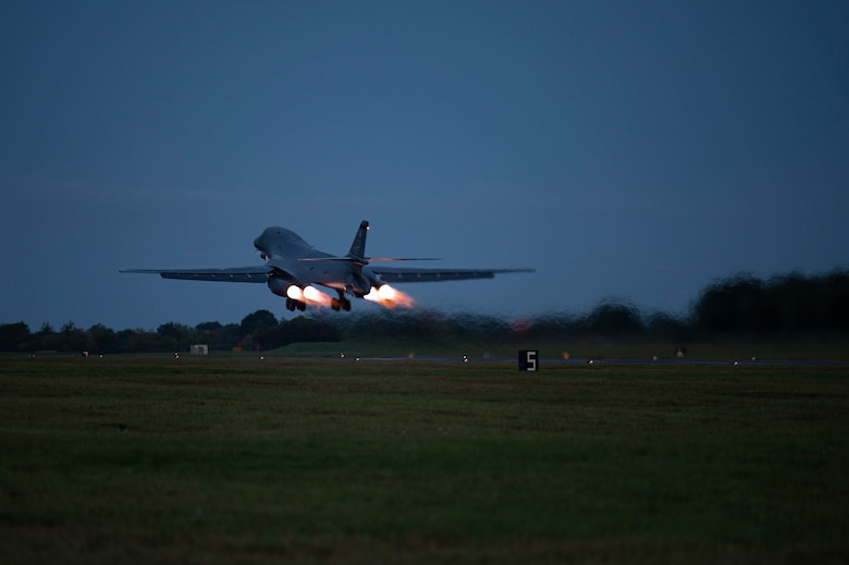 A B-1B Lancer assigned to the 9th Expeditionary Bomb Squadron takes off at RAF Fairford, United Kingdom, to conduct a Bomber Task Force Europe mission, Oct. 11, 2021. BTF Europe missions allow aircrew to routinely integrate and train with ally and partner forces, enhancing operational coordination and interoperability. (U.S. Air Force photo by Senior Airman Colin Hollowell)