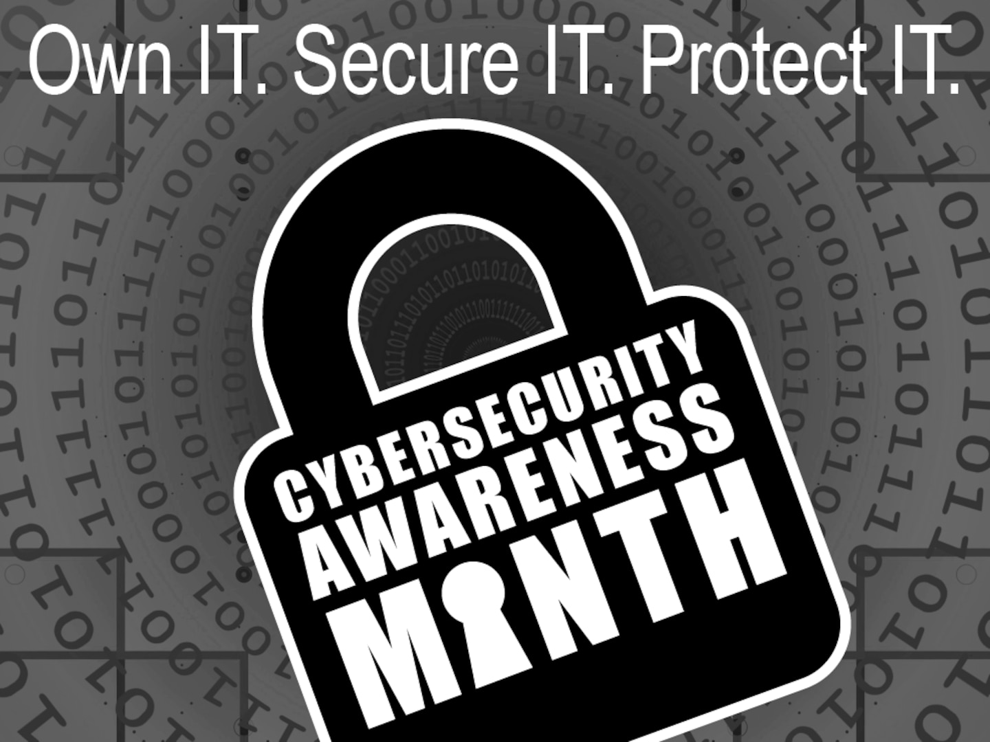 This graphic promotes the federal observance of National Cybersecurity Awareness Month at Marine Corps Installations East-Marine Corps Base Camp Lejeune (MCIEAST-MCB CAMLEJ) and Marine Corps Air Station (MCAS) New River. Created in Adobe Illustrator to enhance awareness and promote digital safety throughout the MCIEAST-MCB CAMLEJ and MCAS New River social media services. (U.S. Marine Corps digital illustration by Lance Cpl. Everett Radcliffe)