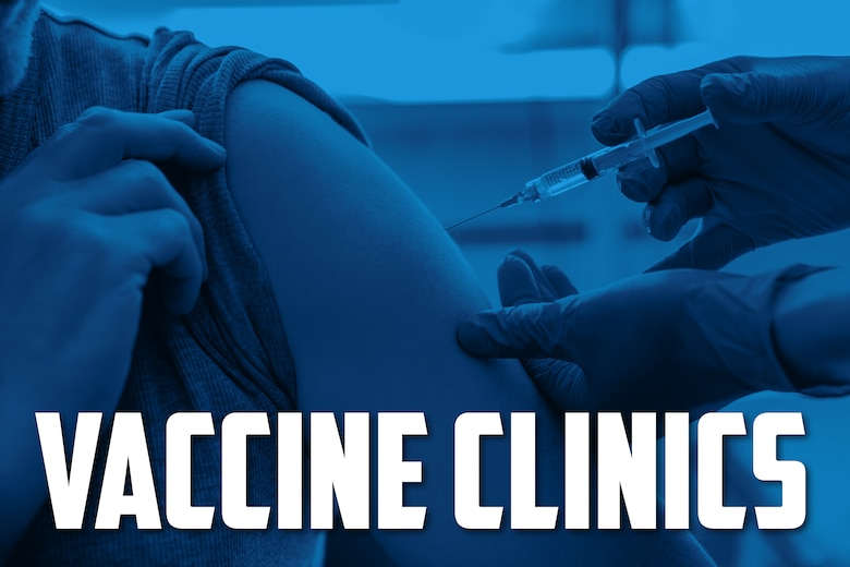 An image of an individual receiving a immunization covered with a blue screen and with the words Vaccine Clinics at the bottom of the graphic.