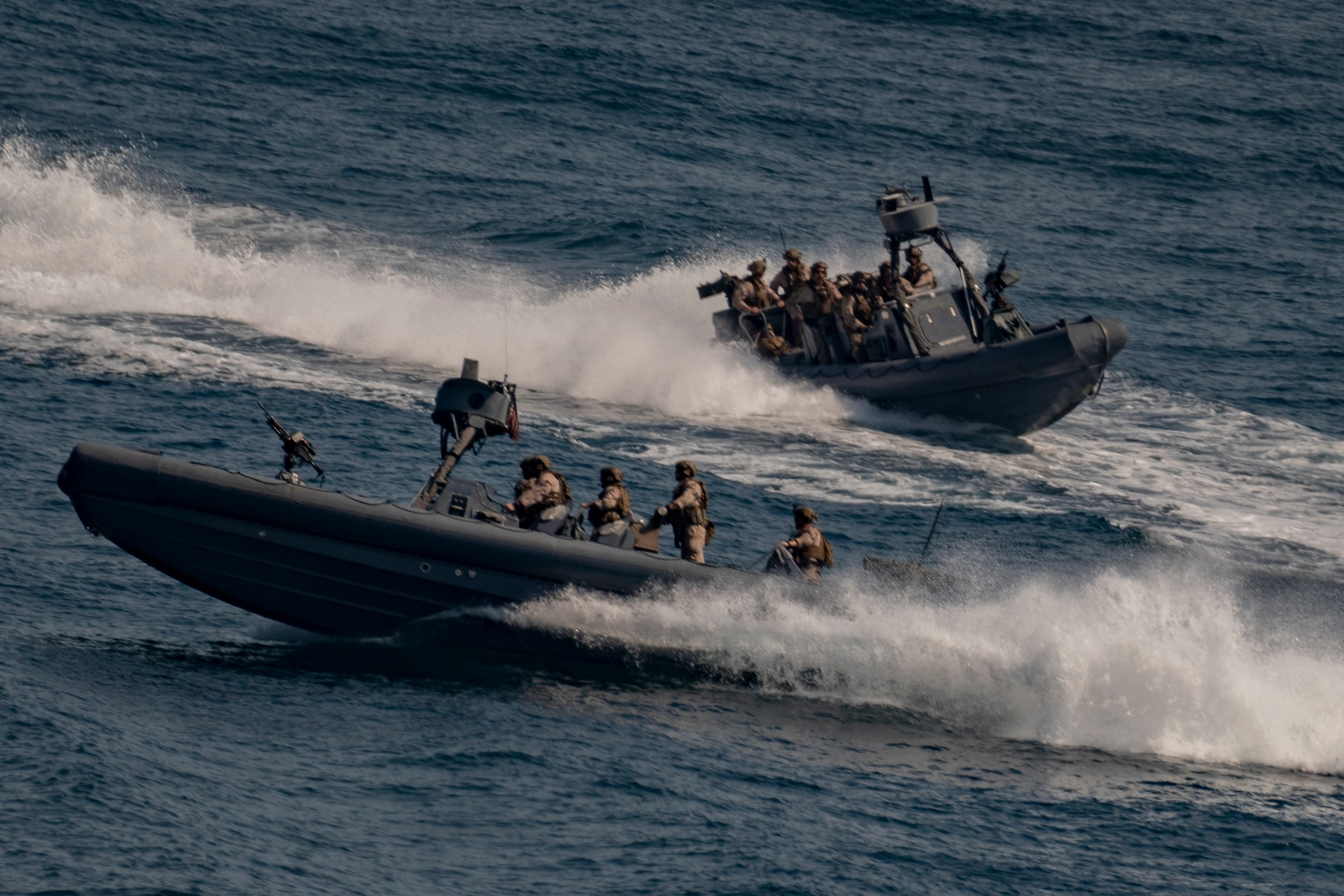Marines assigned to the All Domain Reconnaissance Detachment boat team, 11th Marine Expeditionary Unit (MEU), conduct maritime navigation training aboard rigid inflatable boats, Oct. 8.