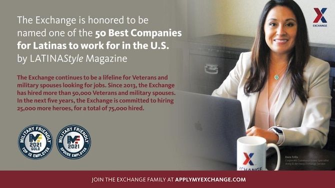 A graphic depicting the 50 best companies for Latinas to work by LATINA Style.