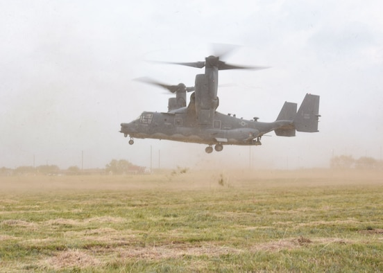 A CV-22 Osprey from Cannon Air Force Base, N.M., prepares to land