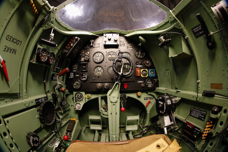 Interior view of the Supermarine Spitfire PR.XI cockpit at the National Museum of the U.S. Air Force World War II Gallery.