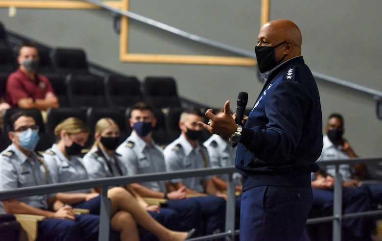 """Gen. Anthony Cotton, commander, Air Force Global Strike Command and commander, Air Forces Strategic-Air, speaks to Air Force Reserve Officer Training Corps Detachment 145. Cotton visited Florida State University and spoke with the Det. 145 cadets about leadership, the AFGSC mission, and future platforms. """"Of course I want everyone to be interested in joining our team, to come and take part in such a critical mission,"""" Cotton said. """"So maybe today I can plant or water the seed for some of the Det. 145 cadets to become Strikers."""" (U.S. Air Force photo by 1st Lt. Kaylin P. Hankerson)"""
